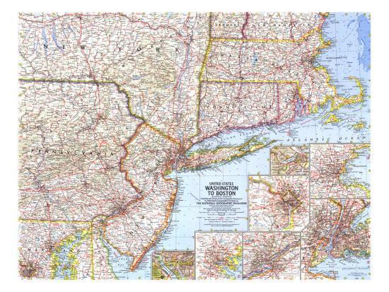 1962 United States Washington to Boston Map Art Print by National ...