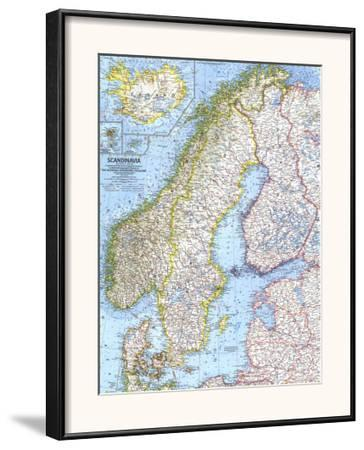 photo about Scandinavia Map Printable identified as 1963 Scandinavia Map Framed Artwork Print by means of Countrywide Geographic Maps