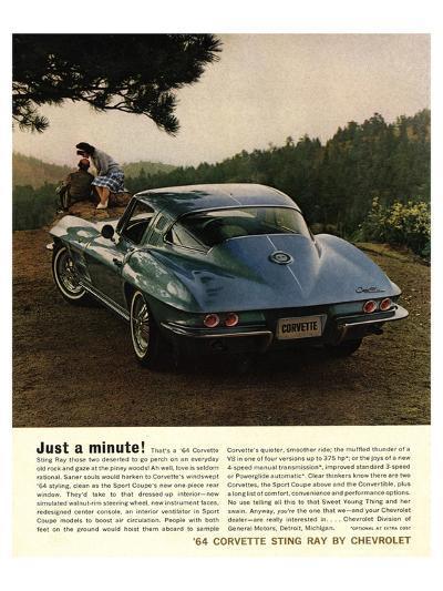 1964 Corvette - Just a Minute--Art Print