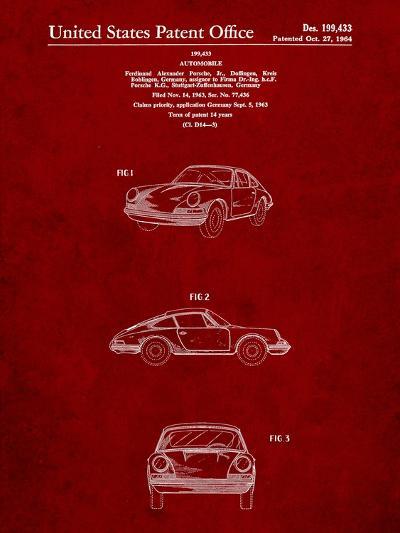 1964 Porsche 911 Patent-Cole Borders-Art Print