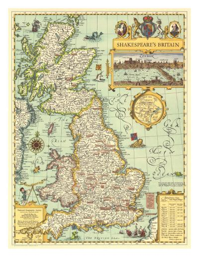 1964 Shakespeares Britain Map-National Geographic Maps-Art Print