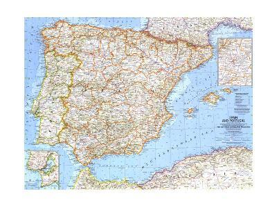 1965 Spain and Portugal-National Geographic Maps-Art Print