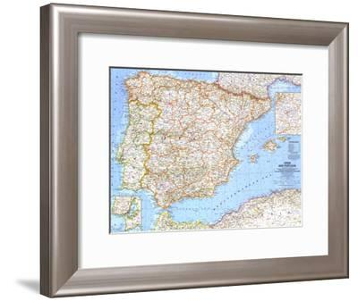 1965 Spain and Portugal-National Geographic Maps-Framed Art Print