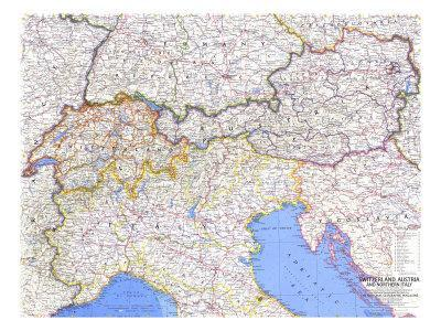 image regarding Printable Maps of Italy referred to as 1965 Switzerland, Austria, and Northern Italy Map Artwork Print by way of Nationwide Geographic Maps