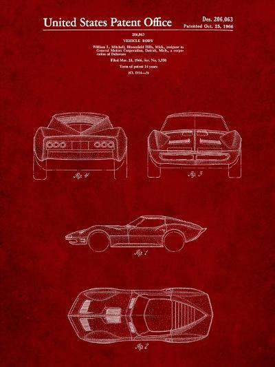 1966 Corvette Mako Shark II Patent-Cole Borders-Art Print