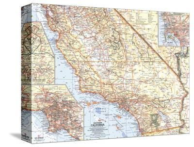 1966 Southern California Map-National Geographic Maps-Stretched Canvas Print