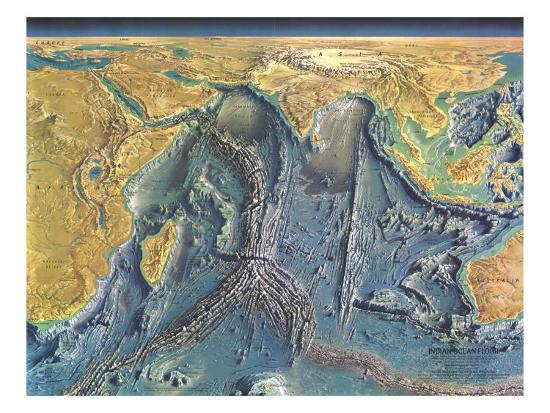 1967 Indian Ocean Floor Map Art Print