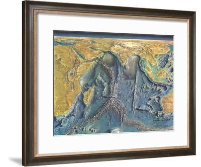1967 Indian Ocean Floor Map-National Geographic Maps-Framed Art Print