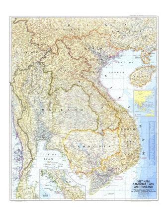 1967 Vietnam, Cambodia, Laos, and Thailand Map-National Geographic Maps-Premium Giclee Print