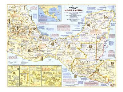 1968 Archeological Map of Middle America-National Geographic Maps-Art Print