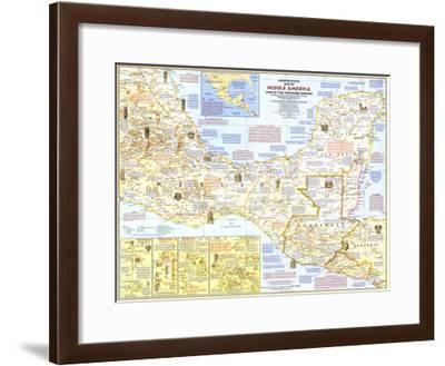1968 Archeological Map of Middle America-National Geographic Maps-Framed Art Print