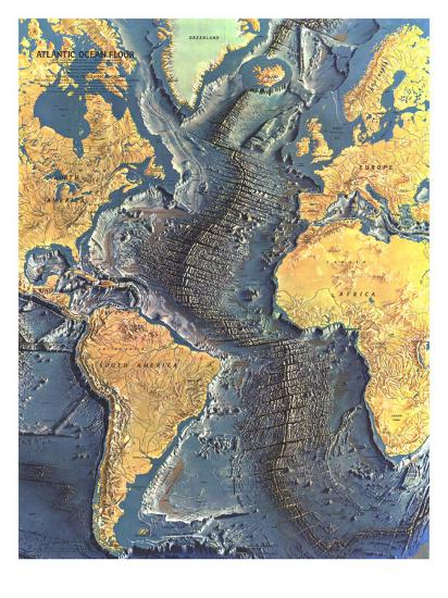 1968 Atlantic Ocean Floor Map Art Print