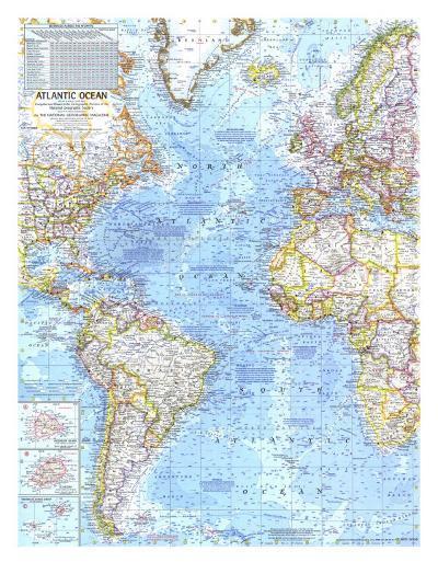 1968 Atlantic Ocean Map-National Geographic Maps-Art Print
