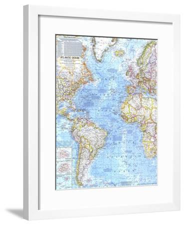 1968 Atlantic Ocean Map-National Geographic Maps-Framed Art Print