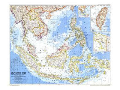 photograph about Printable Map of Southeast Asia called 1968 Southeast Asia Map Artwork Print through Countrywide Geographic Maps