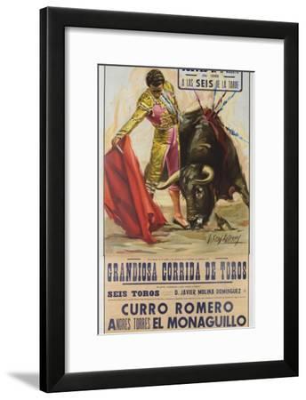1968 Spanish Bullfight Poster Plaza De Toros De Fuengirola--Framed Giclee Print