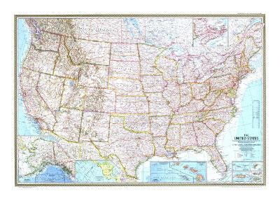 1968 United States Map-National Geographic Maps-Art Print