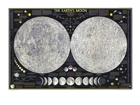 1969 Earths Moon Map-National Geographic Maps-Premium Giclee Print