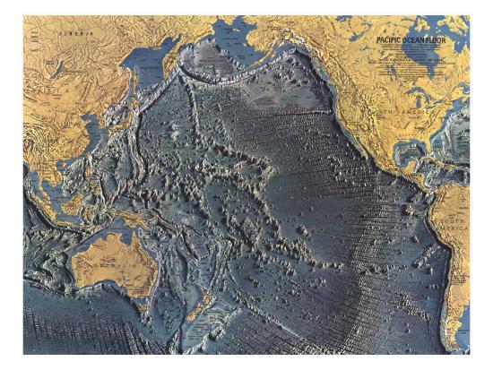 1969 Pacific Ocean Floor Map Art Print By National
