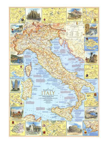 1970 Travelers Map Of Italy Art Print By National Geographic Maps