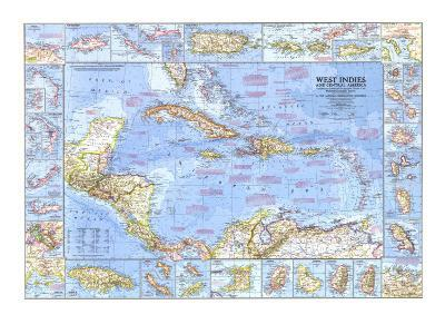 1970 West Indies and Central America Map-National Geographic Maps-Art Print