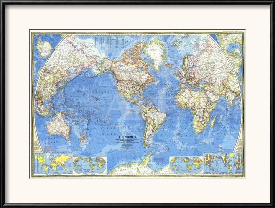 1970 World Map Framed Art Print By National Geographic Maps Art Com