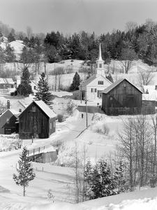 1970s Winter Scenic of Waits River Junction Vermont