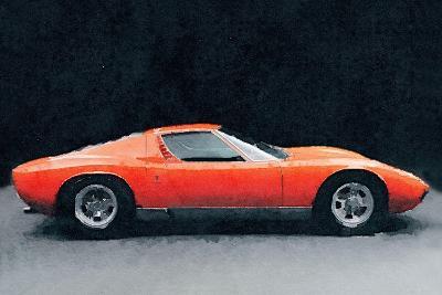 1971 Lamborghini Miura P400 S Watercolor-NaxArt-Art Print