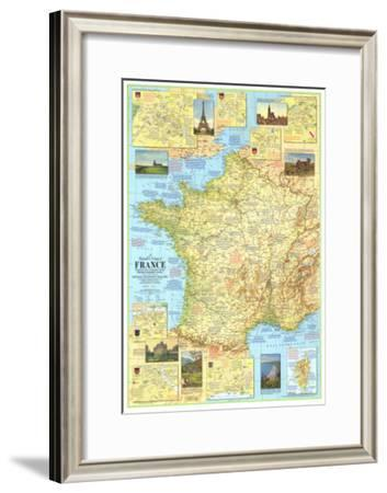 1971 Travelers Map of France-National Geographic Maps-Framed Art Print