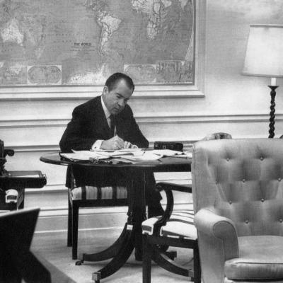 1971 US Presidency, President Richard Nixon Working on His State of the Union Address, January 1971--Photo