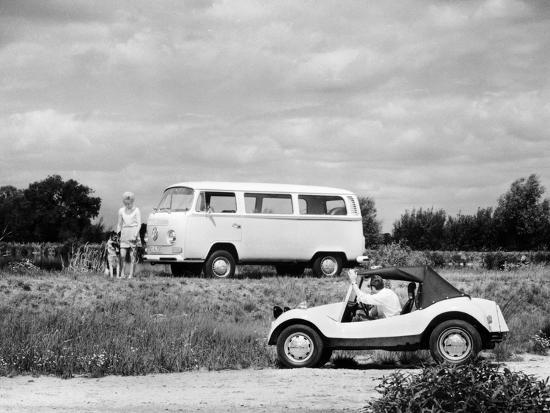 1971 VW camper van and Beach Buggy, (c1971?)-Unknown-Photographic Print