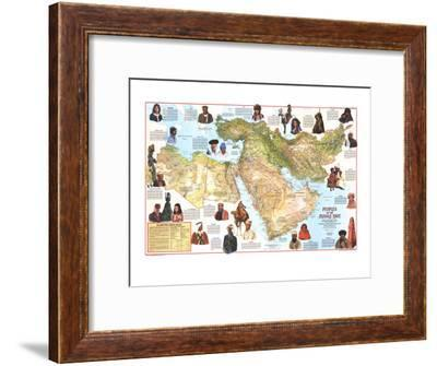 1972 Peoples of the Middle East Map-National Geographic Maps-Framed Art Print