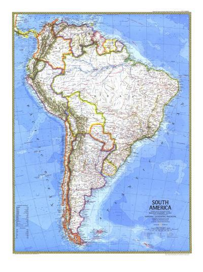 1972 South America Map-National Geographic Maps-Art Print