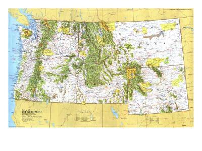 1973 Close-up USA, Northwest Map-National Geographic Maps-Art Print