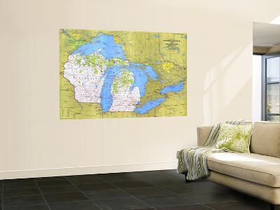 1973 Close-up USA, Wisconsin, Michigan, and the Great Lakes Map-National Geographic Maps-Wall Mural