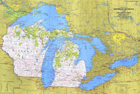 Closeup USA Wisconsin Michigan And The Great Lakes Map Art - Map of wisconsin and michigan