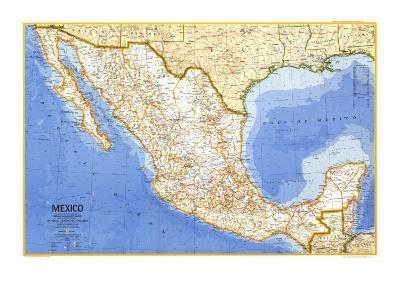 1973 Mexico Map-National Geographic Maps-Art Print