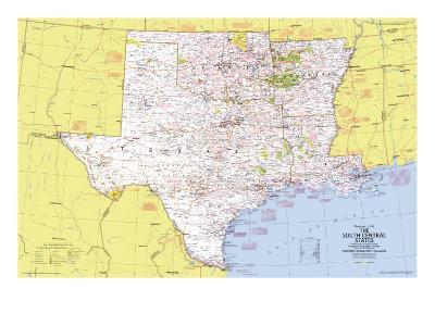 1974 Close-up USA, South Central States Map-National Geographic Maps-Art Print
