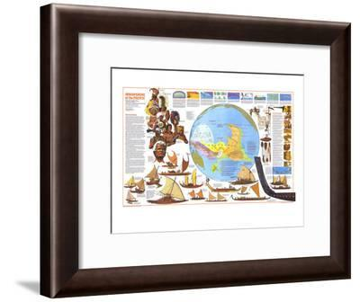 1974 Discoverers of the Pacific Map-National Geographic Maps-Framed Art Print