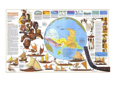 1974 Discoverers of the Pacific Map-National Geographic Maps-Art Print