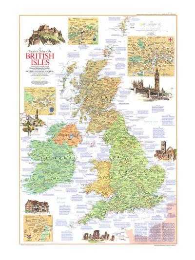1974 Travelers Map of the British Isles-National Geographic Maps-Art Print