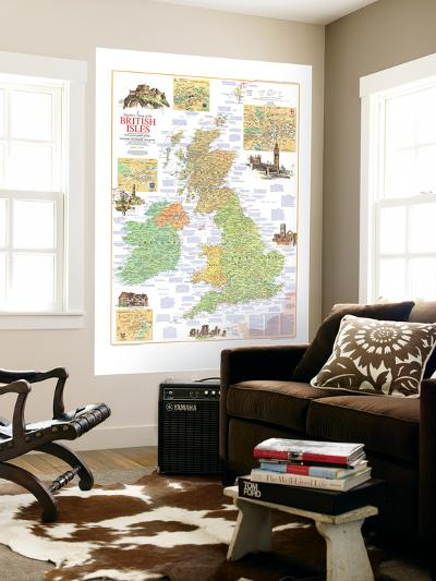 1974 Travelers Map of the British Isles-National Geographic Maps-Wall Mural