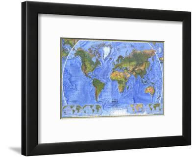 1975 Physical World Map-National Geographic Maps-Framed Art Print