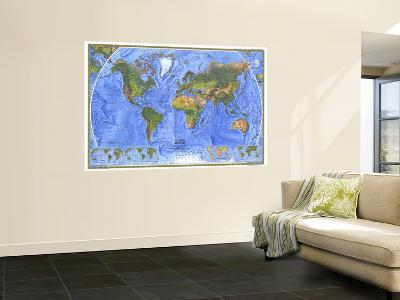 1975 Physical World Map-National Geographic Maps-Wall Mural
