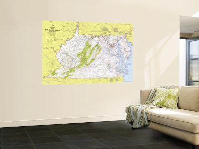 1976 Close-up USA, Mid-Atlantic States Map-National Geographic Maps-Wall Mural