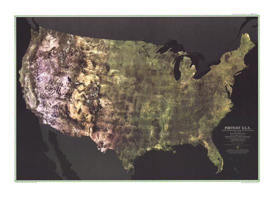 1976 Portrait Usa Map Art Print By National Geographic Maps Art Com