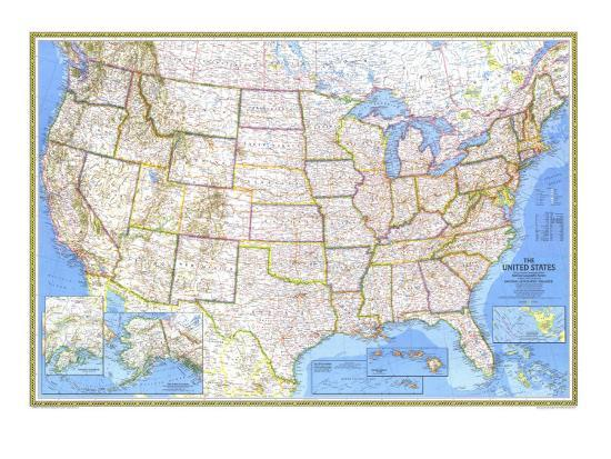 1976 United States Map Art Print by National Geographic Maps | Art.com