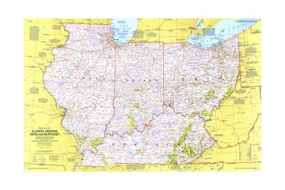 image relating to Printable Map of Kentucky titled 1977 Finish-up United states of america, Illinois, Indiana, Ohio, Kentucky Artwork Print by way of Nationwide Geographic Maps