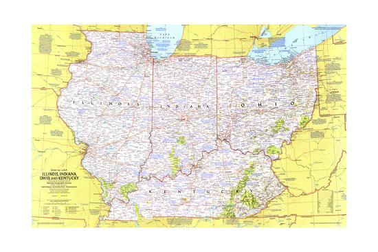 1977 Close-up USA, Illinois, Indiana, Ohio, Kentucky Art Print by National on massachusetts on map of usa, missouri map usa, map of new jersey usa, map of the south usa, map of san antonio usa, map of new york city usa, map of florida usa, map of new england states usa, map of richmond usa, map of kentucky flag, map of georgia usa, map of eastern usa, map of dc usa, map of upper midwest usa, map of kentucky and ohio, map of kentucky cities, map of northern usa, map of southern usa, map of california usa, map of south central usa states,