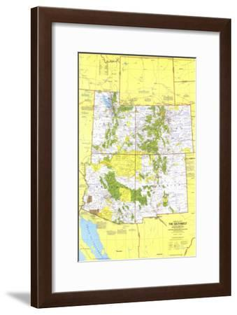 1977 Close-up USA, Southwest Map-National Geographic Maps-Framed Art Print